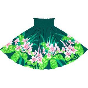 ヒスイ色のパウスカート プルメリア柄 2745JD フラダンス 衣装|pauskirt