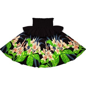 フリルパウスカート 黒のパウスカート プルメリア柄 Sofrill-2745BK フラダンス 衣装|pauskirt