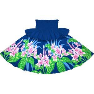フリルパウスカート 青のパウスカート プルメリア柄 Sofrill-2745BL フラダンス 衣装|pauskirt