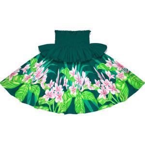フリルパウスカート ヒスイ色のパウスカート プルメリア柄 Sofrill-2745JD フラダンス 衣装|pauskirt