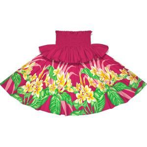 フリルパウスカート ピンクのパウスカート プルメリア柄 Sofrill-2745Pi フラダンス 衣装|pauskirt