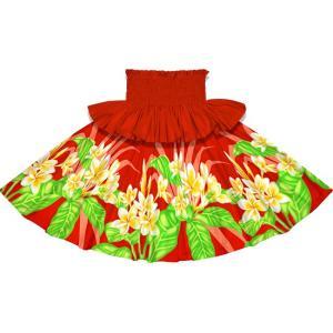 フリルパウスカート 赤のパウスカート プルメリア柄 Sofrill-2745RD フラダンス 衣装|pauskirt