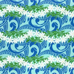 水色のハワイアンファブリック ティアレ・ボーダー柄 fab-2748AQ 【4yまでメール便可】|pauskirt