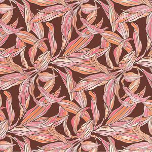 茶色のハワイアンファブリック ティリーフ柄 fab-2749BR 【4yまでメール便可】|pauskirt