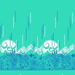 水色のハワイアンファブリック ヤシ・オヘカパラ柄 fab-2750AQ 【4yまでメール便可】|pauskirt