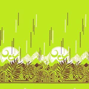 きみどりのハワイアンファブリック ヤシ・オヘカパラ柄 fab-2750LG 【4yまでメール便可】|pauskirt