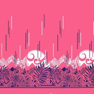 ピンクのハワイアンファブリック ヤシ・オヘカパラ柄 fab-2750Pi 【4yまでメール便可】|pauskirt