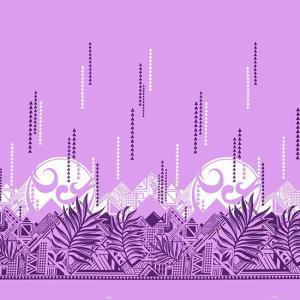 紫のハワイアンファブリック ヤシ・オヘカパラ柄 fab-2750PP 【4yまでメール便可】|pauskirt
