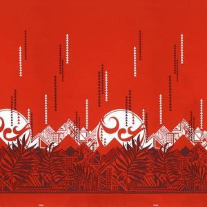 赤のハワイアンファブリック ヤシ・オヘカパラ柄 fab-2750RD 【4ヤードまでメール便可】 pauskirt