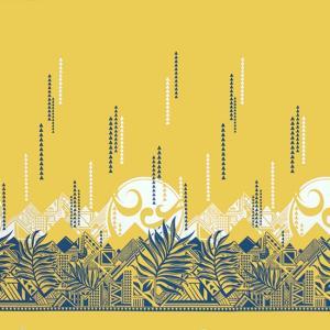 黄色のハワイアンファブリック ヤシ・オヘカパラ柄 fab-2750YW 【4yまでメール便可】|pauskirt
