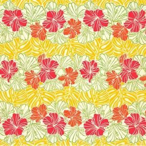 クリーム色と黄色のハワイアンファブリック ハイビスカス・モンステラ・ボーダー柄 fab-2751CRYW 【4yまでメール便可】|pauskirt