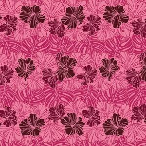 紫のハワイアンファブリック ハイビスカス・モンステラ・ボーダー柄 fab-2751PP 【4yまでメール便可】|pauskirt