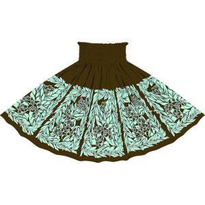 茶色のパウスカート クラウンフラワー・ティリーフレイ柄 2754BR フラダンス 衣装|pauskirt