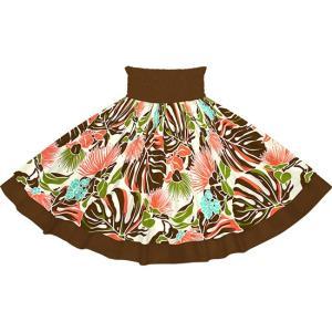 【送料無料】ダブルパウスカート 茶色のレフア・モンステラ柄とチョコレートの無地 2755BR-chocolate|pauskirt