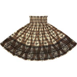 茶色のパウスカート カヒコ・ボーダー柄 2756BR フラダンス 衣装|pauskirt