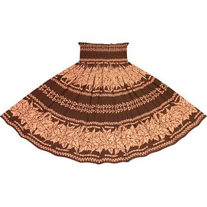 茶色のパウスカート ククイ・カヒコボーダー柄 2758BR フラダンス 衣装|pauskirt
