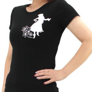 Tシャツ レディース 半袖 黒 フラシスター フラダンス シルクプリント tsht-print 【メール便可】 pauskirt