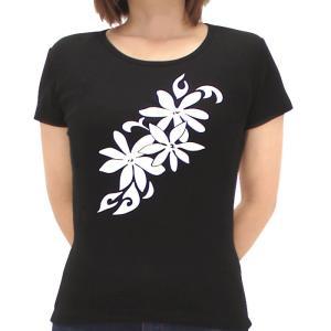 Tシャツ レディース 半袖 黒 斜めティアレ フラダンス シルクプリント tsht-print 【メール便可】 pauskirt