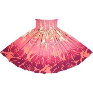 ピンクのパウスカート ハイビスカス・モンステラ・グラデーション柄 2769Pi フラダンス 衣装