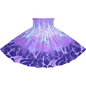紫のパウスカート ハイビスカス・モンステラ・グラデーション柄 2769PP フラダンス 衣装