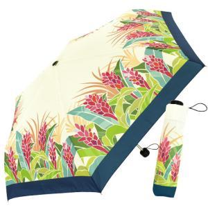 【アウトレット】 折りたたみ傘 クリーム色 カバー付き 晴雨兼用 UVカット レッドジンジャー柄 汚れあり|pauskirt