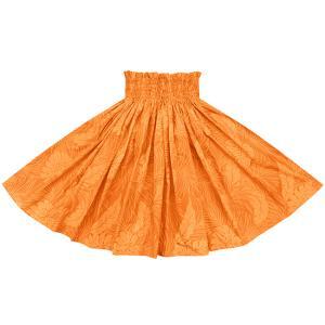 オレンジのパウスカート モンステラ総柄 2022OR フラダンス 衣装|pauskirt