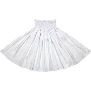 白のパウスカート モンステラ総柄 2022WH フラダンス 衣装|pauskirt
