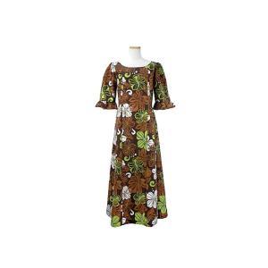 送料無料 茶色の袖ありAラインフラドレス 9号 ハイビスカス総柄 rmds-31009ds-1910BR|pauskirt