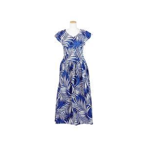 送料無料 青のカラー付きフラドレス 9号 ヤシ総柄 rmds-41041ds-1485|pauskirt