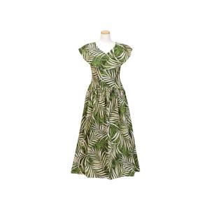 送料無料 緑のカラー付きフラドレス 9号 ヤシ総柄 rmds-41041ds-1484|pauskirt