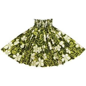 緑のパウスカート プルメリア総柄 2143GN 75cm 3本ゴム 三つ折り仕上げ【既製品】☆|pauskirt
