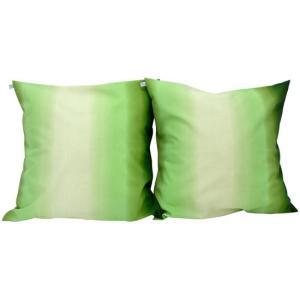 クッションカバー グラデーション きみどりと緑 47cm 2個セット|pauskirt