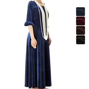【送料無料】ベルベットスリーブ フラドレス 色とサイズが選べる 51001ds|pauskirt