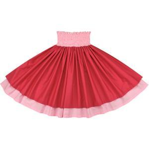【送料無料】 ダブルパウスカート ラズベリーの無地とさくら色の無地 raspberry-sakura-c032 フラダンス 衣装|pauskirt