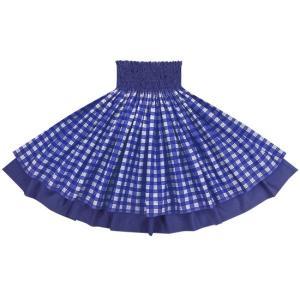 【送料無料】 ダブルパウスカート 青のパラカ柄 ロイヤルブルーの無地 2028BL フラダンス 衣装|pauskirt