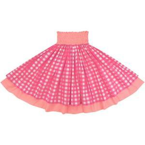 【送料無料】 ダブルパウスカート ピンクのパラカ柄 コーラルピンクの無地 2028Pi フラダンス 衣装|pauskirt