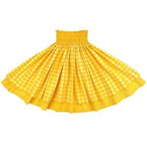 【送料無料】 ダブルパウスカート 黄のパラカ柄 ゴールドの無地 2028YW フラダンス 衣装|pauskirt