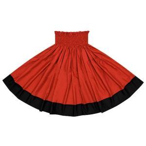 【送料無料】 ポエポエパウスカート クリムゾンとオフブラックの無地パウ Sopoepoe-crimson-black フラダンス 衣装|pauskirt