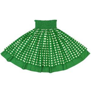 【送料無料】 緑のパラカ柄とビリジアンの無地 ダブルパウスカート 2028GN フラダンス 衣装|pauskirt