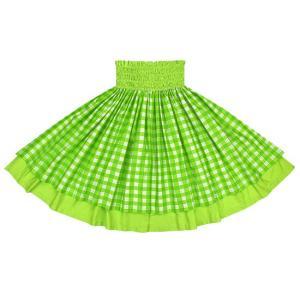 【送料無料】 ダブルパウスカート きみどりのパラカ柄 イエローグリーンの無地 2028LG フラダンス 衣装|pauskirt
