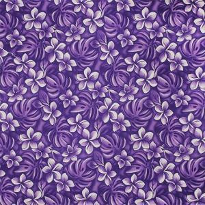 紫のファブリック プルメリア・モンステラ柄 fab-2430PP 【4yまでメール便可】|pauskirt