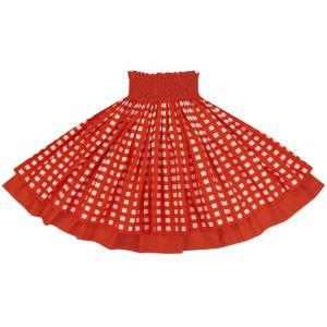 【送料無料】 ダブルパウスカート 赤のパラカ柄 クリムゾンの無地 2028RD フラダンス 衣装|pauskirt