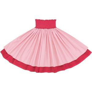 【送料無料】 ダブルパウスカート さくら色の無地とラズベリーの無地 sakura-c032-raspberry フラダンス 衣装|pauskirt