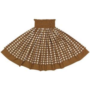 【送料無料】 ダブルパウスカート 茶色のパラカ柄 モカブラウンの無地 2028BR フラダンス 衣装|pauskirt