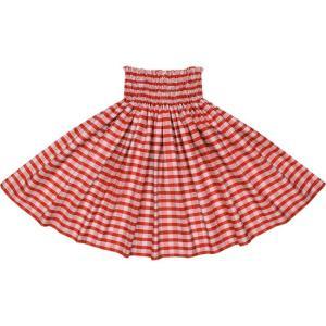 赤のコットンパウスカート パラカ柄 綿100% ctt-palaka フラダンス 衣装|pauskirt