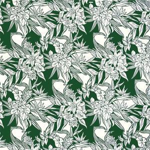 緑のハワイアンファブリック リリー・アンスリウム柄 fab-2516GN 【4yまでメール便可】|pauskirt