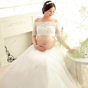 マタニティ フォト ドレス 可愛いレース衣装 写真 撮影 妊娠中の姿を記念に 2点セット (C) pawpawshop