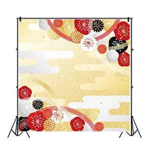 Qinunipoto 1.5x1.5m 背景布 和風 プリント お正月 写真背景 伝統模様 撮影用 背景紙 壁飾り 菊と風 新年 中秋節 結婚式 春|pawpawshop