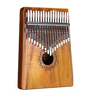 カリンバ kalimba 親指ピアノ 17キー マホガニー製 楽器 ステッカー付き 初心者向け (yellow)|pawpawshop