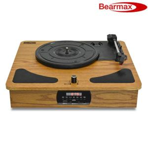 Bearmax ベアーマックス レコードプレーヤー ラジオ+メディアレコーダー TRM-109W 木...